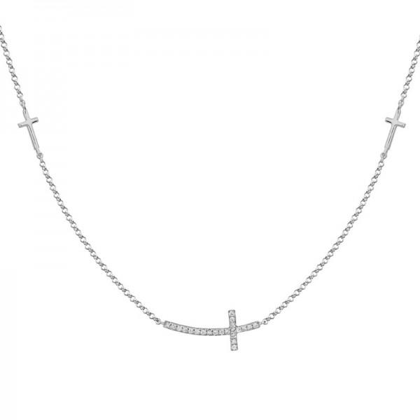 14K White Gold Sideways Cross Pendant with Round Diamonds .06ctw, on 16