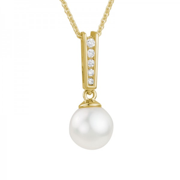 14K Yellow Gold  7.5mm Pearl and Diamond Pendant, 5 Round Diamonds .06ctw