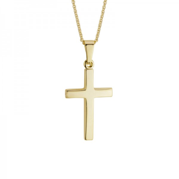14KY Contour Cross Pendant