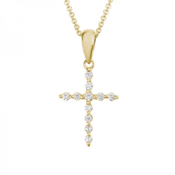 14KY Gold Diamond Cross Pendant 0.11ctw Round Diamonds on Adjustable Chain 16