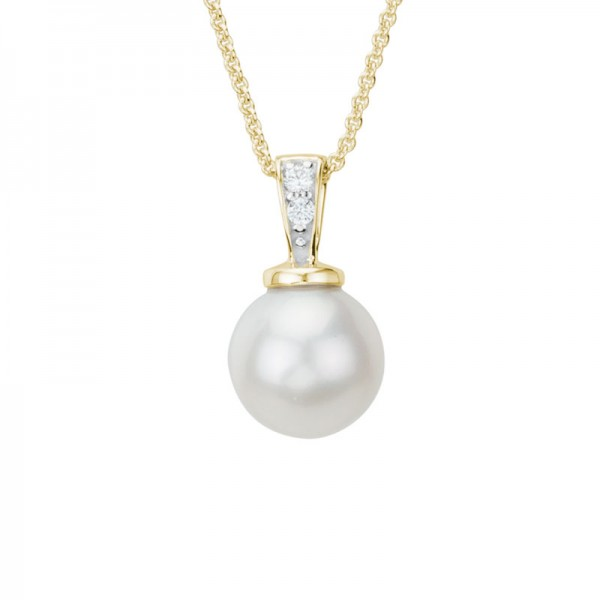14K Yellow Gold  8mm Freshwater Pearl and Diamond Pendant, Round Diamonds .02ctw