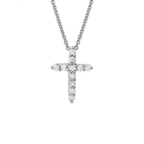 14K White Gold  Diamond Cross Pendant with 11 Round Diamonds 0.14ctw