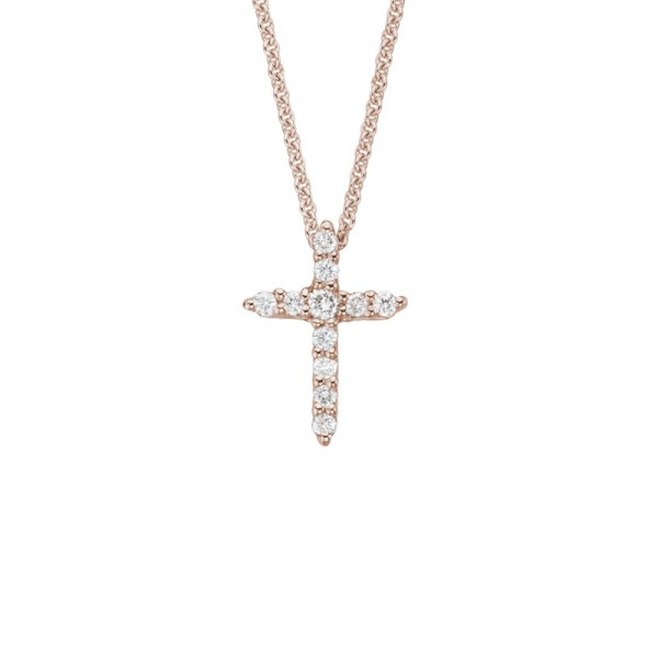 14K Rose Gold Diamond Cross Pendant with 11 Round Diamonds 0.09ctw