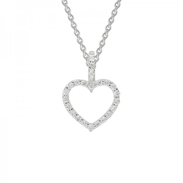 14K White Gold  Open Heart Diamond Pendant .10Ct Tw