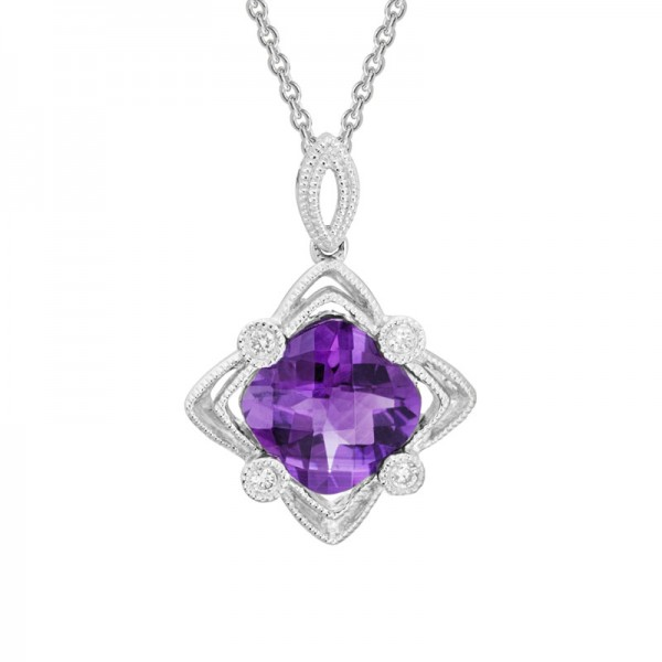 14K White Gold  Filigree Amethyst and Diamond Pendant, Round Diamonds 0.4ctw