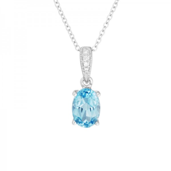 14K White Gold  Blue Topaz and Diamond Pendant, 4 Round Diamonds .01ctw