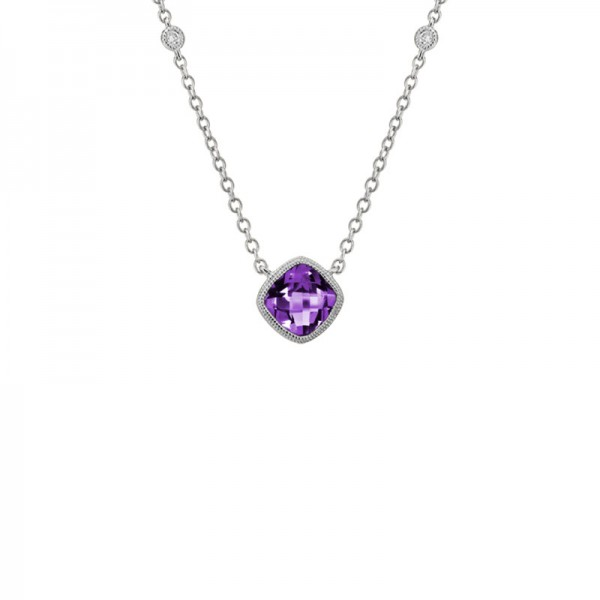 14K White Gold  Amethyst And Diamond Pendant, 2 Round Diamonds On Chain .03Ctw