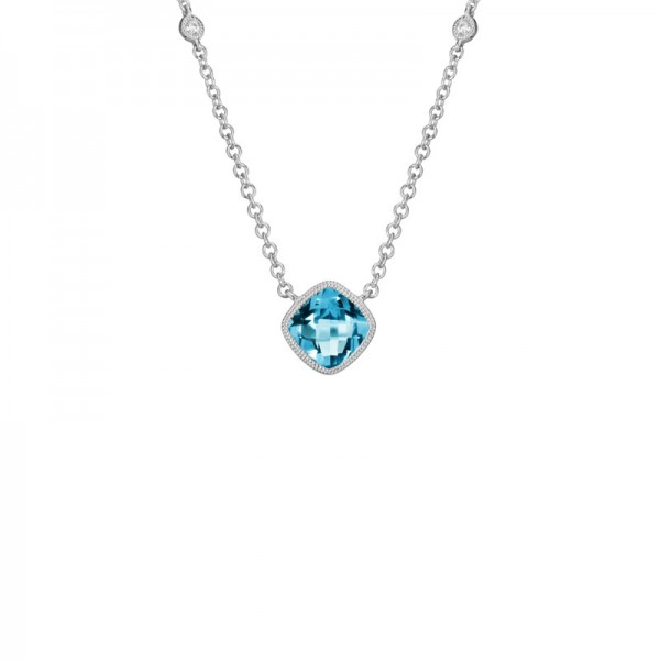 14K White Gold  Blue Topaz and Diamond Pendant, 2 Round Diamonds On Chain .03ctw