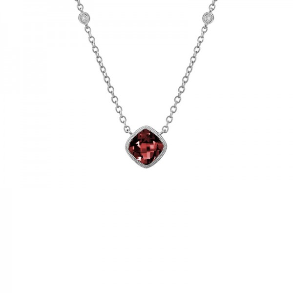14K White Gold  Red Garnet and Diamond Pendant, 2 Round Diamonds On Chain .03ctw