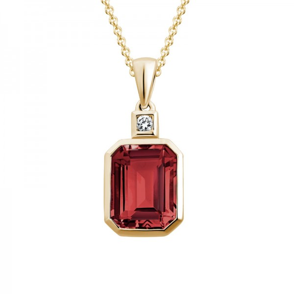 14K Yellow Gold  Emerald Cut Garnet Pendant with 0.03ct Round Diamond