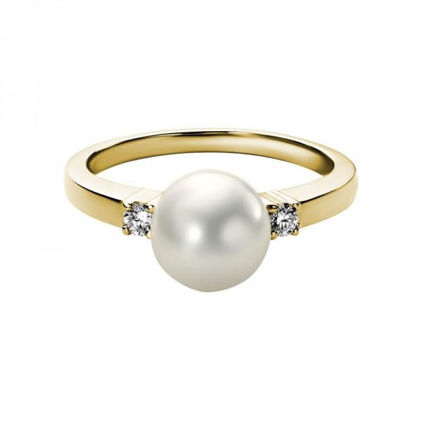 14K Yellow Gold Ring 8MM Round Fresh Water Pearl .095 tcw Diamonds
