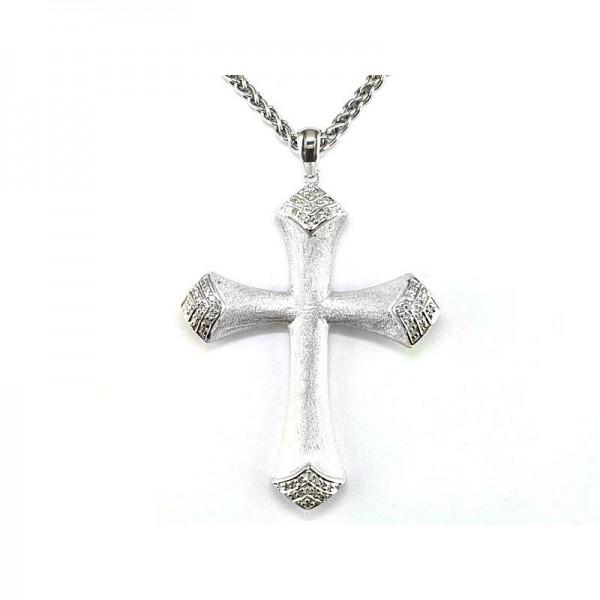 Silver & Black Diamond Cross Pendant