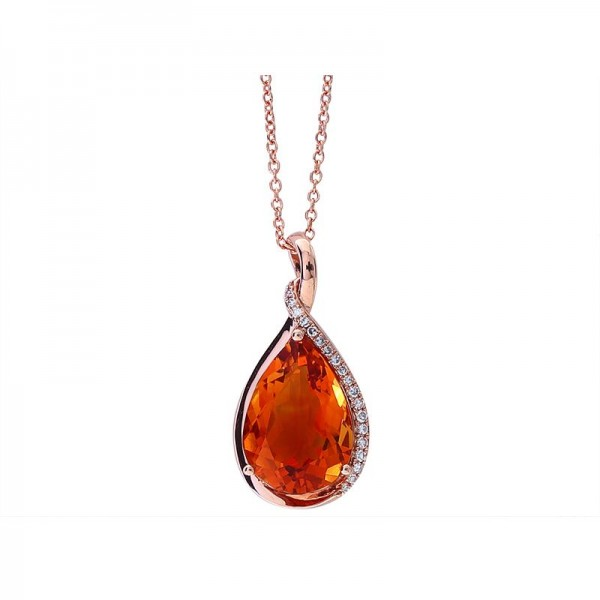 14K Rose Gold Diamond & Madera Citrine Pendant. ROund Diamonds 0.07 TCW & Pear Madera Citrine 6.35 TCW