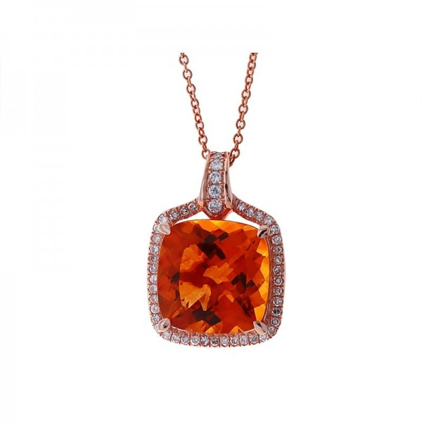 Lady's 14K Rose Gold Pendant with One 8.08ct Cushion Citrine and 48=0.27tw Round Diamonds