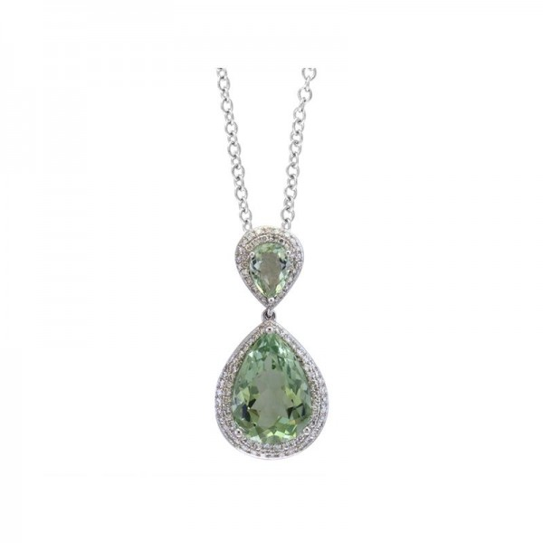 14K White Gold Diamond & Green Amethyst Pendant. Round Diamonds 0.40 TCW & Pear Green Amethyst 6.50 TCW