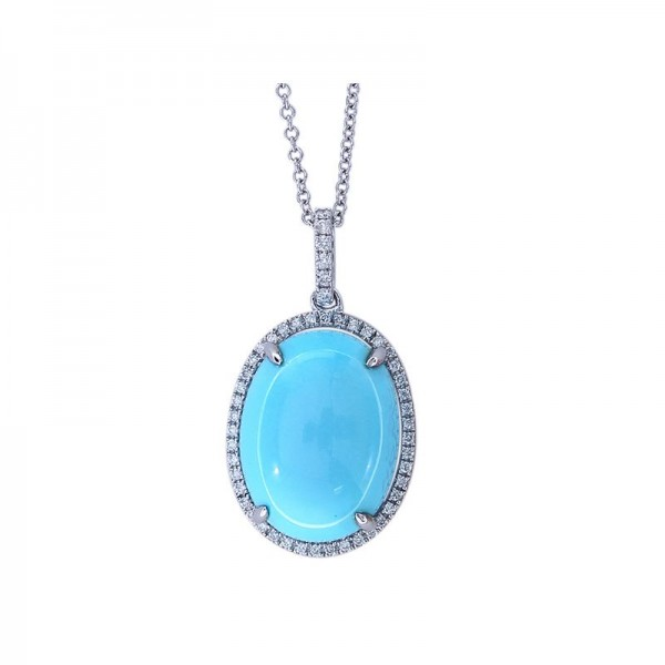 Lady's 14KW Gold Pendant with One 8.54ct Oval Turquoise and 0.21tw Round Diamonds