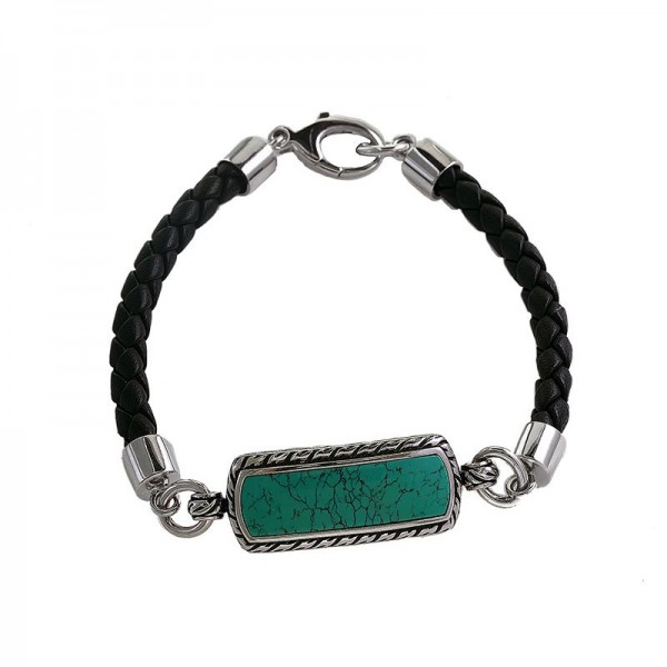 Men's Silver & Leather Turquoise Bracelet