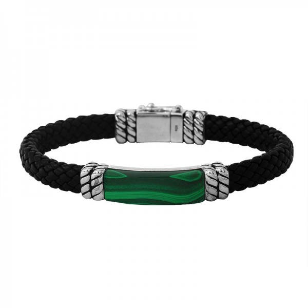 Men's Silver & Leather Malachite Bracelet