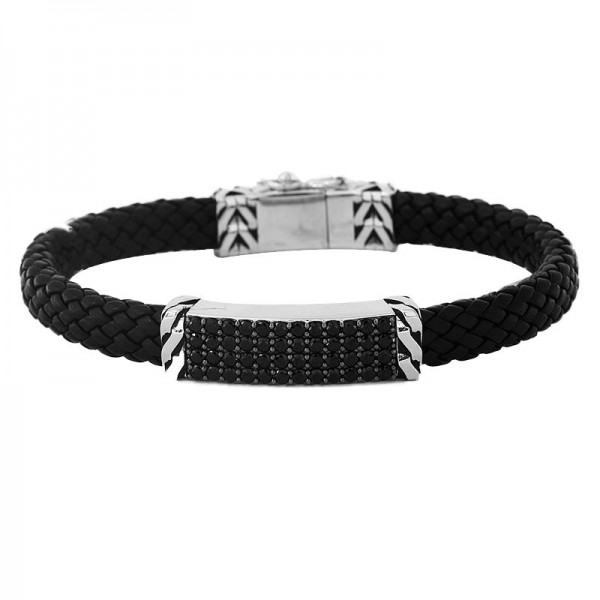 Men's Silver & Leather Black Spinel Bracelet