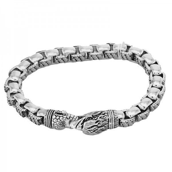 Men's Silver Black Diamond Eagle Bracelet