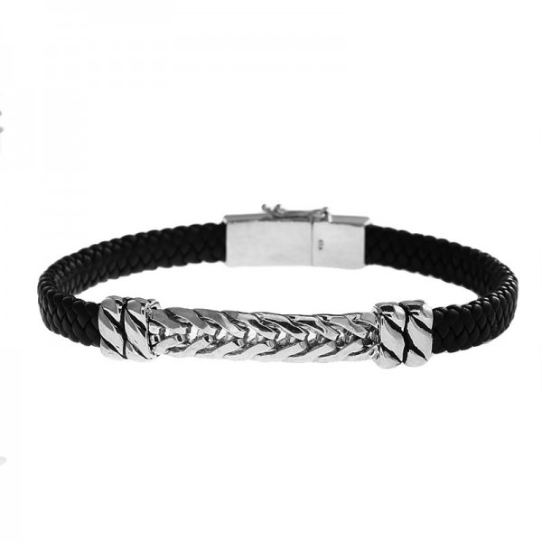 Men's Silver & Leather Bracelet