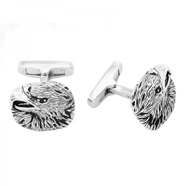 Silver Black Spinel Eagle Head Cuff Link