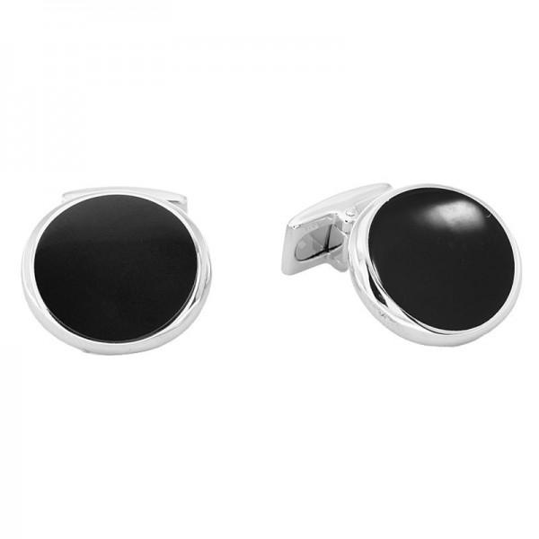 Silver Circle Black Cuff Link