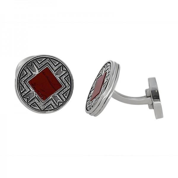 Silver Red Jasper Cuff Link