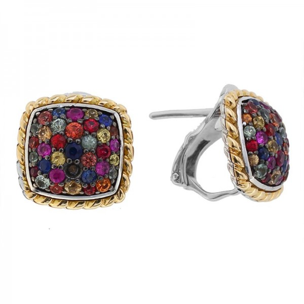925 Sterling Silver & 18K Yellow Gold Rainbow Sapphire Earrings. Pink & Purple Sapphire 1.60 TCW