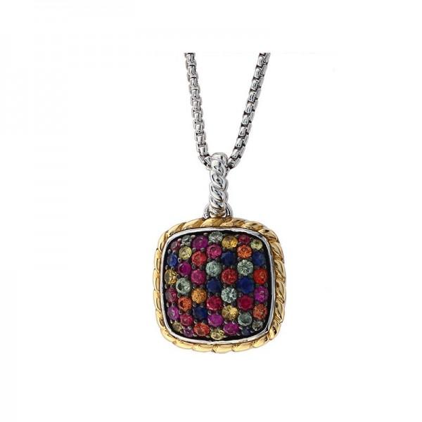 925 Sterling Silver & 18K Yellow Gold Rainbow Sapphire Pendant