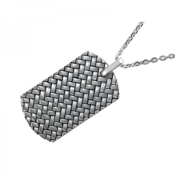Silver Basket Weave Pendant