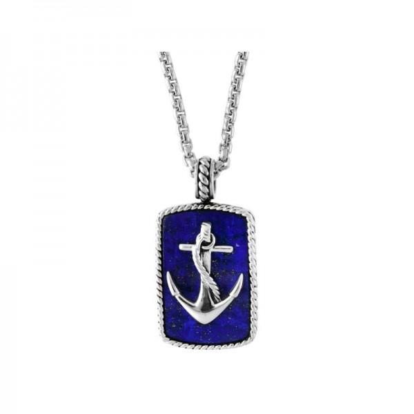 Men's Silver Lapis Anchor Pendant