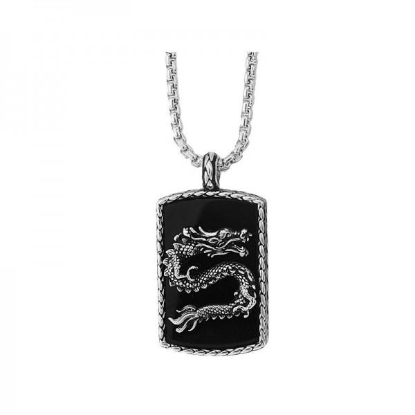 Silver Onyx Dragon Pendant