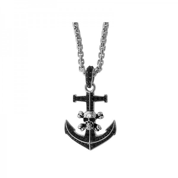 Silver Black Spinel Anchor & Skull Necklace
