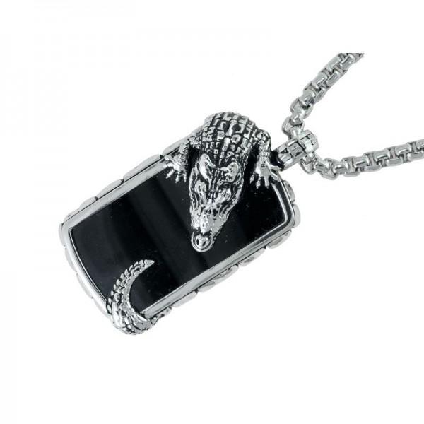 Silver Onyx Alligator Pendant