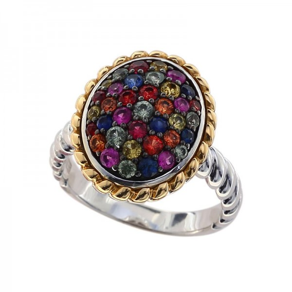 925 Sterling Silver & 18K Yellow Gold Rainbow Sapphire Ring. Pink & Purple Sapphire 1.15 TCW