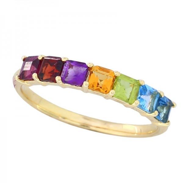 14K Yellow Gold With Amethyst, Blue Topaz, London Blue, Citrine, Garnet, Rhodolite, Peridot Ring
