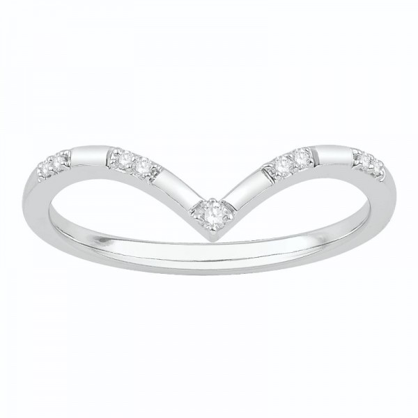Lady's White 10 Karat Curved Wedding Band
