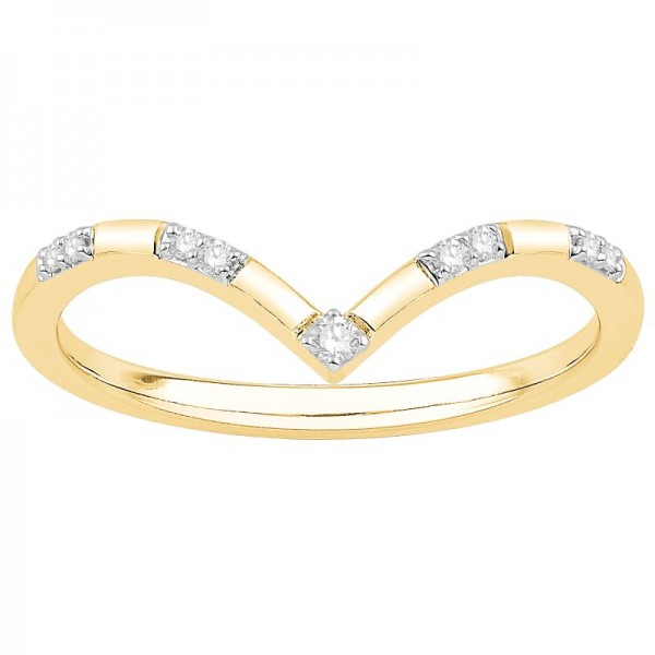 Lady's Yellow 10 Karat Curved Wedding Band