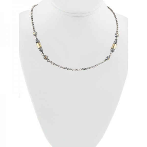 Women's Sterling Silver and 18kt Yellow Gold ASP bullet chain necklace with toggle clasp 18