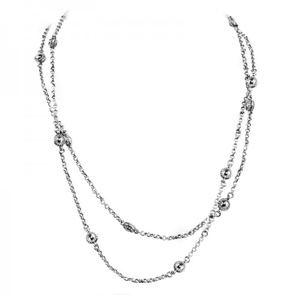 Women's Sterling Silver dot chain with toggle clasp 28