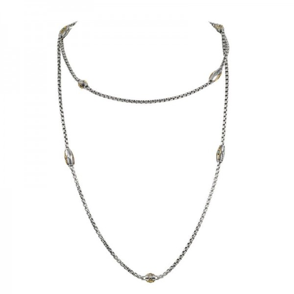 Women's  Astria Collection Silver & 18KY Gold Comet Chain Wrap Blue Spinel Necklace