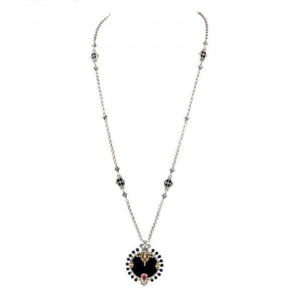 Women's Sterling/18KY Necklace with Onyx and Rhodolite