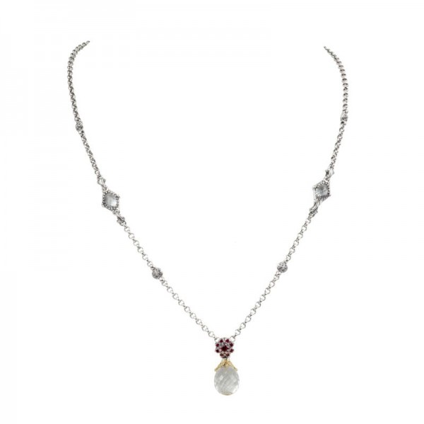 Women's  Pythia Collection Silver & 18KY Gold Crystal and Corundum Necklace