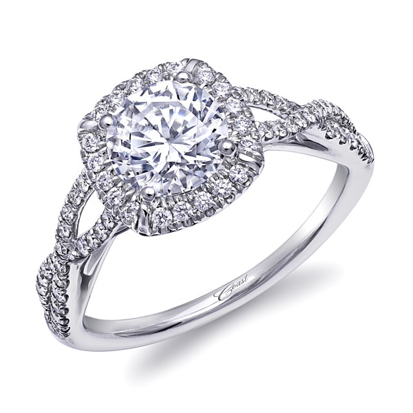 14KW Diamond Semi-Mount Fishtail .23Ct Tw Round Diamonds  4 Prong 1Ct Mounting