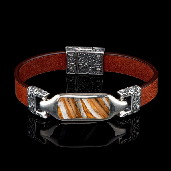 William Henry Leather Florence Mammoth Tooth and Sterling Bracelet with Magnetic Clasp