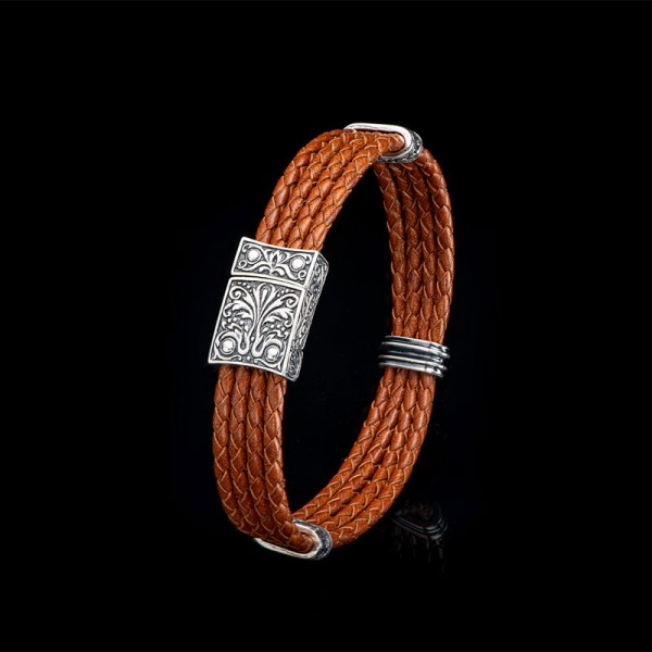 William Henry Palermo Sterling and 4 Strand Leather Bracelet with Magnetic Clasp