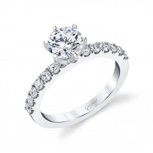 14KW Diamond Semi-Mount  With 1Ct 4 Prong Microprong Head .42Ct Tw Round Diamonds F