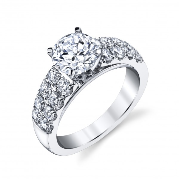 14KW Diamond Semi-Mount With Cathedral Style Double Row Shank For A 1.50Ct Round Stone .94Ct Tw 4 Prong Microprong