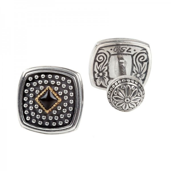 Sterling and 18KY Onyx Cufflinks